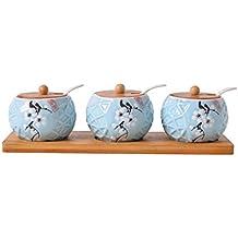Maimai TD24 Juego de Caja de Especias de cerámica Tarro de Especias Caja de condimento de