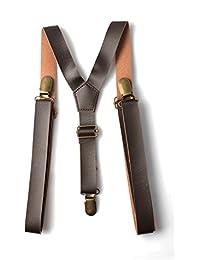 Accessoryo - hommes brun réglable pu pantalon accolades