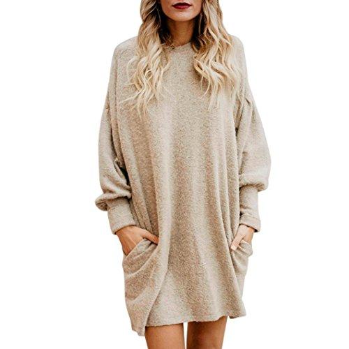 Rüschen-wolle Pullover Kleid (Amlaiworld Sweatshirts Winter Herbst locker Pullover Kleider Mode Sport Langarmshirt Ringel Damen Gemütlich Bluse Basic elegant Tops weich Freizeit Oberteile (XL, Beige))