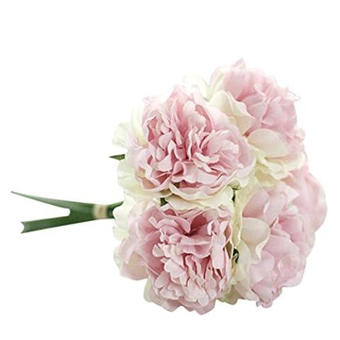 Fleurs Artificielles, Oyedens 1 Bouquet de 5 Fleurs de Pivoine de Tête Artificielle Fleur Artificielle Pour Décoration de Maison Mariage Mariee (Rose Vert)