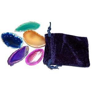 Esoterik-Versand Edelsteine, fünf farbige Achatscheiben in einem blauen Samtbeutel
