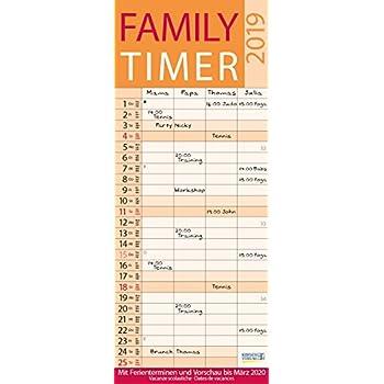 Family Timer Lifestyle 2019: Mit 4 Spalten. Mit Ferienterminen Und Vorschau Bis März 2020
