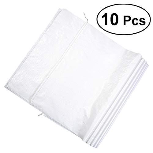 Yardwe 10 STÜCKE Sand Taschen Leere Weiße Gewebte Tasche Gunny Sack Sand Taschen Kunststoff Schlangenleder Wasserdicht Staubdicht Tasche Für verpackung - 35x57 cm