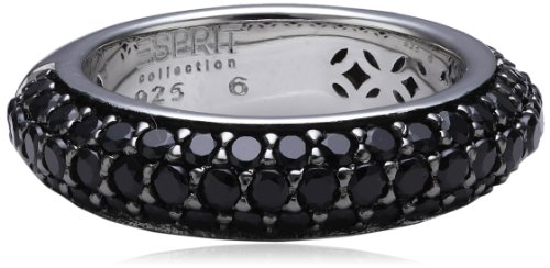Esprit Damen-Ring 925 Sterling Silber Zirkonia AMORBESS Schwarz,schwarz,DE 58 (18mm)