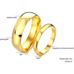 Spangel Fashion 18k Gold Couple Engagement and Wedding Plain Ring for Men Women (17)