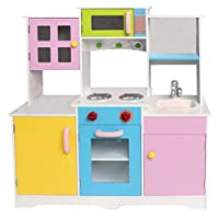 HomeStoreDirect Large Girls Boys Kids Wooden Play Kitchen Role Play Pretend Toy Furniture