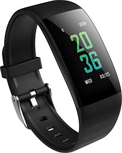 Wasserdichte Fitness Tracker Farbdisplay, Aktivität Tracker Schwimmen Uhr, Herzfrequenz, Blut Sauerstoff, Blutdruck, Schlaf, Kalorien, Männer und Frauen Armband Unterstützung Android iOS (schwarz)