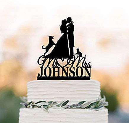 Cheyan - Decoración para tarta de boda personalizada con gato y perro pastor alemán, silueta de novia y novio, divertida figura decorativa para tarta de boda