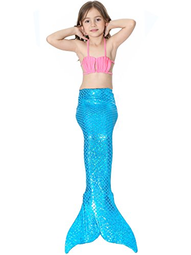 Das Beste Mädchen Meerjungfrau Bikini Kostüm Schwimmanzug Badeanzüge Tankini Muschelbikini Bademode Badeanzüge Meerjungfrauenschwanz Schwimmen Baden, 120, Farbe: Rosa+Blau1 (Die Besten Zombie Kostüme)