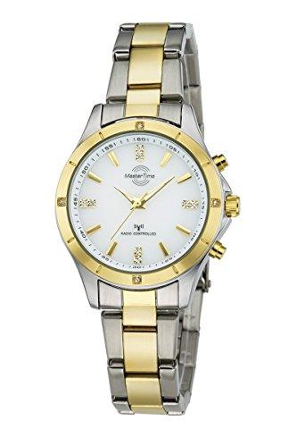 Master Time Funk Quarz Damen Uhr Analog mit Edelstahl Armband MTLA-10465-11M
