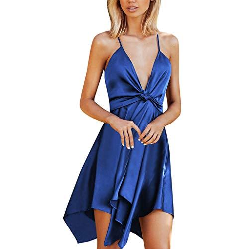 ❤Inawayls Kleider Damen V-Ausschnitt Rückenfrei Asymmetrischer Saum Abendkleider Elegant Cocktailkleid Party Kleid -