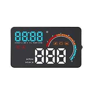 Altsommer 3,6 cm Head Up Display mit GPS D2500 Auto HUD Windschutzscheibe Projektor Digital HD Tachometer mit Kraftstoffverbrauch Echtzeit-Wassertemperatur-Spannungsalarm für alle Autos und LKWs