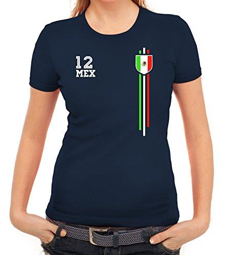 Mexico Soccer World Cup Fussball WM Fanfest Gruppen Damen Frauen T-Shirt Rundhals Streifen Trikot Mexiko, Größe: XXL,Dunkelblau
