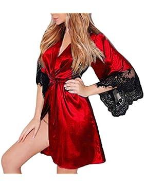 Kimono Batas Mujer, ❤️ Modaworld Babydoll de Vestido de Kimono Sexy para Mujer Lencería de Encaje Ropa de baño...