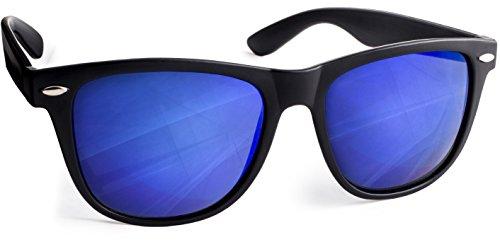 UVprotect Sonnenbrille retro Design unisex Schwarz Dunkelblau W02
