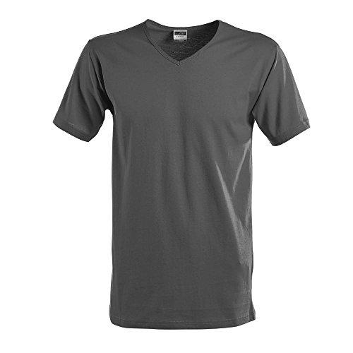 James & Nicholson - Slim Fit T-Shirt mit V-Ausschnitt Graphite