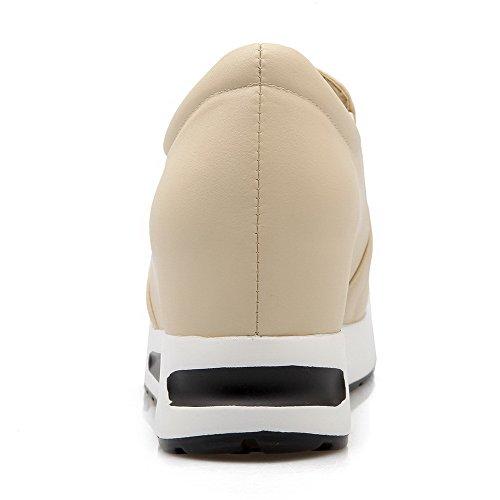 AgooLar Femme Pu Cuir Couleur Unie Tire Rond à Talon Correct Chaussures Légeres Beige