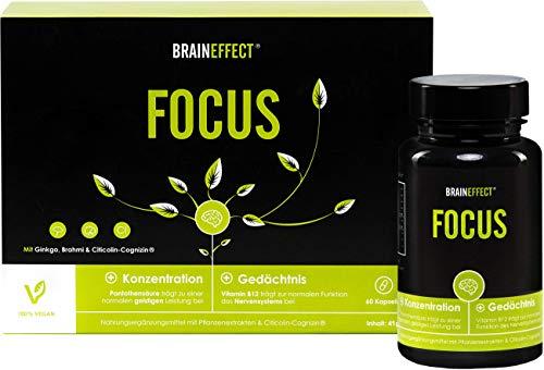 BRAINEFFECT FOCUS   Natürlicher Booster mit Vitamin B5 für Konzentration und Gedächtnisleistung   OHNE Koffein   60 Kapseln   mit CDP-Cholin   vegan