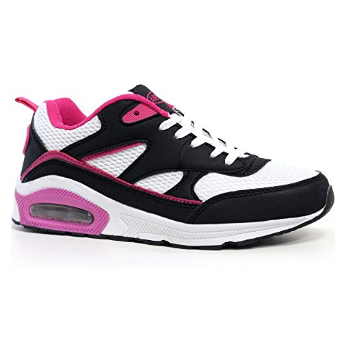 Ladies Running Trainers Air Tech Shock Absorbing Fitness Gym Sports Shoes Size 4 - 8 (5 UK / 38 EU, Black / White / Plum)