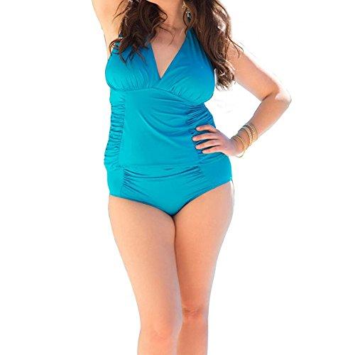 Costumi Nuoto Donna Costumi Da Bagno Moda Mare Taglie Forti Costumi Interi Bikinis Azzurro chiaro