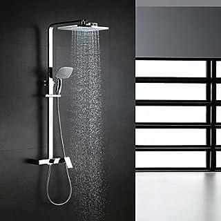 AiMi- Duscharmaturen - Zeitgenössisch - Wasserfall/Regendusche/Handdusche inklusive - Messing ( Chrom )