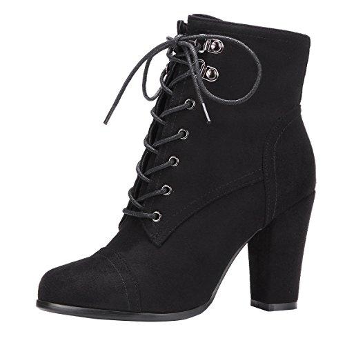 YE Damen Blockabsatz Ankle Boots High Heels Stiefeletten mit Schnürung und Reißverschluss Elegant...
