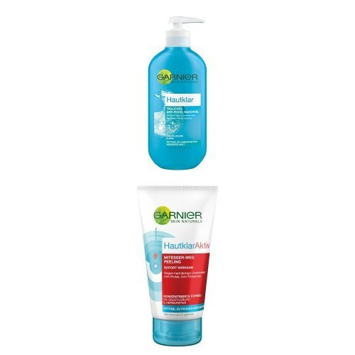 Garnier Hautklar Anti-Pickel Wasch Gel, 1er Pack ( 1 x 200 ml ) + Hautklar Aktiv Anti-Pickel Peeling, 3er Pack ( 3 x 150 ml )