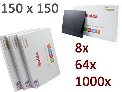 Haida Optical Serie 150 ND 3er Graufilter Set bestehend aus 3 verschiedenen ND Filtern in der Größe 150 mm x 150 mm - ND0.9 (8X) / ND1.8 (64x) / ND3.0 (1000x)