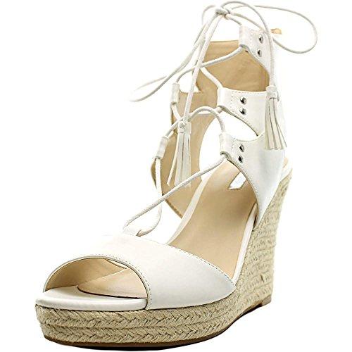 Guess Lamba3 Femmes Cuir Sandales Compensés white