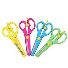 ULTNICE - Set di 4 forbici da carta per bambini, in plastica e acciaio inossidabile (colori casuali)