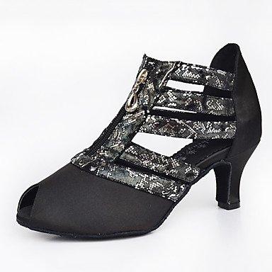 Silence @ Chaussures de danse pour femme en cuir Cuir latine/moderne des chaussures Chunky Talon Practise noir