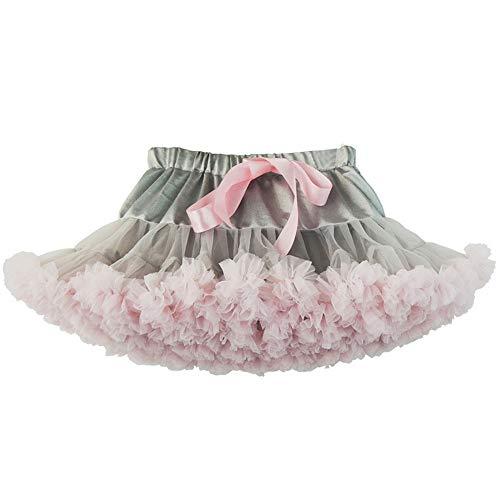 Yamyannie Kleinkind Kostüm Kleid Fluffy Tüll Plissee Tutu Rock Prinzessin Balletttanz Wear Pettiskirt Tiered für Lady Girls (Farbe : Gray+Pink, Größe : - Pink Lady Kostüm Für Kleinkind