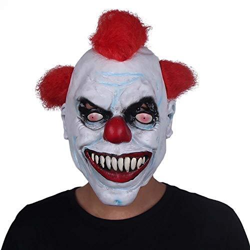 HOQTUM Halloween Maske Latex Rot Haar Clown Terrorist Kopfbedeckung Scary Grimasse Erwachsene Maskerade Teufel Death ()