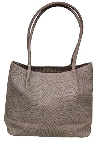 Damen Leder Tasche Kroko Schultertasche Handtasche Shopper (puderrosé) puderrosé