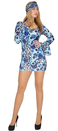 Maylynn - Costume da hippy anni 60 e 70 per travestimenti di coppia uomo/donna - blu - Zoe (Donna) - 42/44