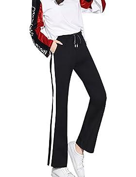 Pantalones Deportivos Mujeres Cintura Alta Cordón Pantalón Amplio Pantalones Leggings