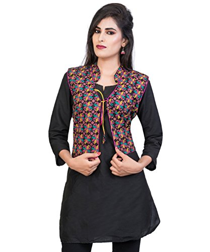 Banjara Women's Poly Cotton Kutchi Printed Jacket (MJK-PRNT01, Black, Free Size)