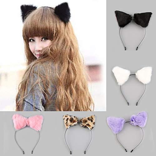 camellia Fluffy Cosplay Halloween-Party-Katze Faux-Pelz-Ohr-Kostüm Hairpin Haarband Schwarz/Weiß/Violett/Leopard/Schwarz-Rosa-Kleid (schwarz) (Une Faux Halloween)