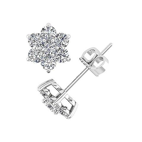 Delight femmes de diamant 18K boucles d'oreille Clous en forme de fleur (VS1-VS2, 11/4carat)