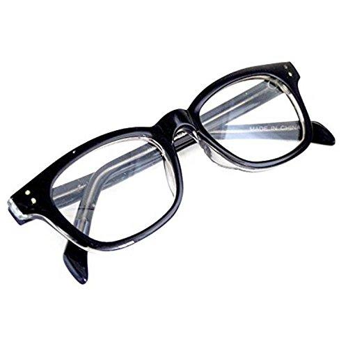 Nerd-Brille Schwarz ohne Sehstärke 15cm Herren Damen Unisex Panto-Brille Lese-Brille Wayfarer Klar-Glas Nerd-Brille Geek-Brille