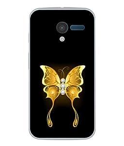 PrintVisa Golden Butterfly High Gloss Designer Back Case Cover for Motorola Moto X :: Motorola Moto X (1st Gen) XT1052 XT1058 XT1053 XT1056 XT1060 XT1055