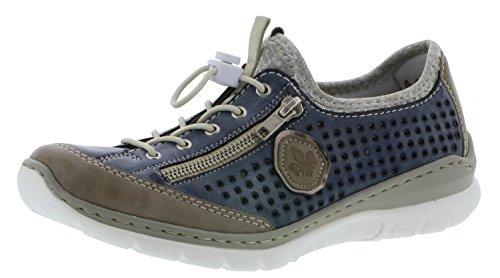Rieker L3296 Damen Halbschuh, Halbschuhe, Schnürer mit Zierreißverschluss blau Kombi (Steel/Jeans/Altsilber/silverflower / 42), EU 39