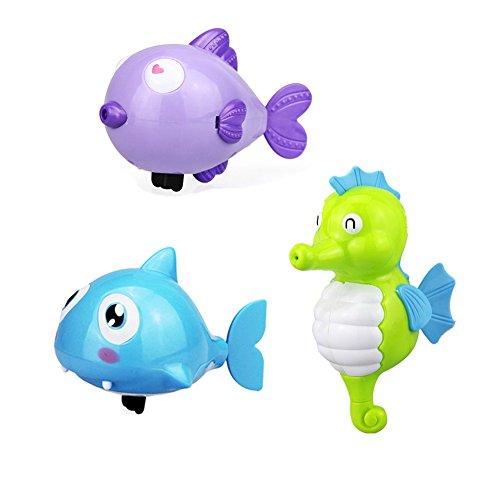 Juguete Baño Bebe,Morbuy Baño Tiempo Diversión para Bebé baño juguetes de natación bañera linda natación juguetes Baño Juguetes Natación Wind-up Bañera/Piscina Juguetes set para Niños, Colores Aleatorios (Estilo 2 (3pcs))