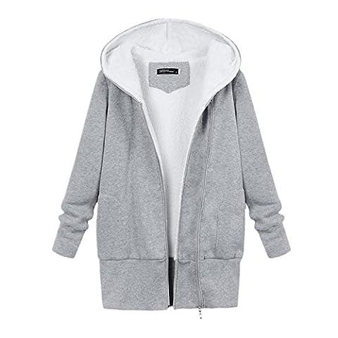 Bluestercool Femmes Sweat à Capuche Hooded Pullover avec Poche Tops Blousons Manteau (M, Gris)