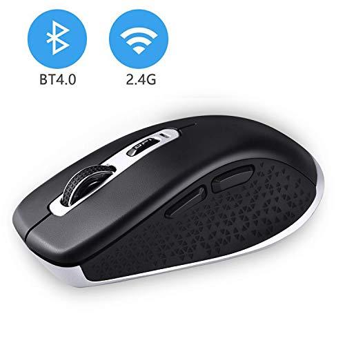 cimetech Kabellose Bluetooth Maus, Bluetooth 4.0 & 2.4G Dual Modus Schnurlos Optische Funkmaus Computermaus USB Nano Empfänger Für PC Laptop iMac MacBook Microsoft (BT4.0 + 2.4G Dualmodus - Schwarz)