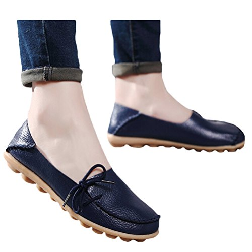 Vogstyle Moccasin Femme Casual Plat Tout-match Chaussures 33-43 Style-1 Navy