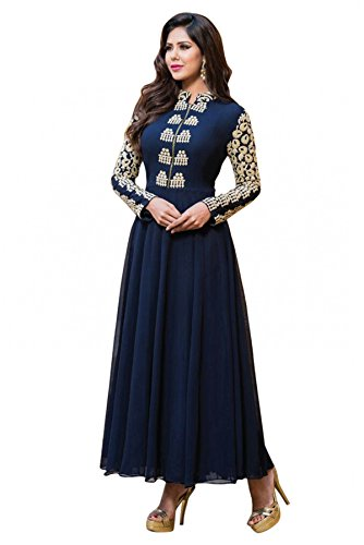 Shree Sanskruti Women's Art Georgette Dress Material (feminanevyblue_Blue)