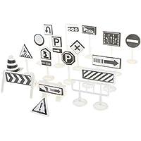 NON Sharplace 18pcs Semáforos y Señales de Tráfico en Inglés de Simulación para Modelismo