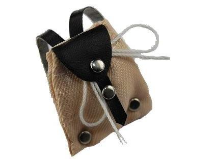 Rucksack / Tasche beige - Miniatur für Puppenstube Puppenhaus - Maßstab 1:12 - Wanderrucksack / Wandern - Wanderurlaub Deko