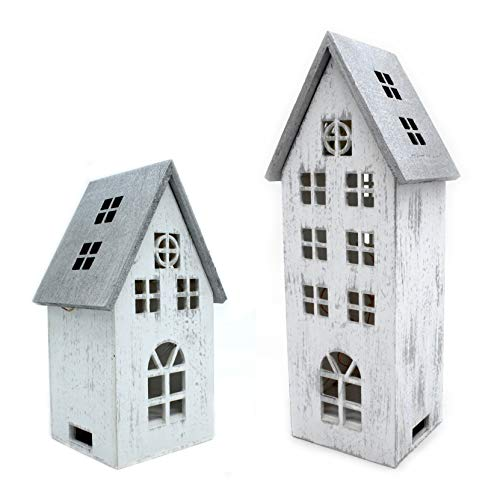 DARO DEKO Holz LED Haus weiß Silber 2er Set - klein und groß